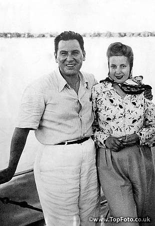 Recently elected President Juan Peron of the Argentine and his first lady,  Eva, on a yachting trip in 1946.