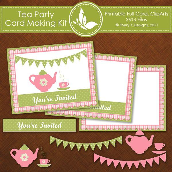 Free Tea Party Invitation Card / Bello diseño para una tarjeta de invitación divertida