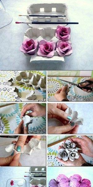 Rosas hacen de un cartón de huevos