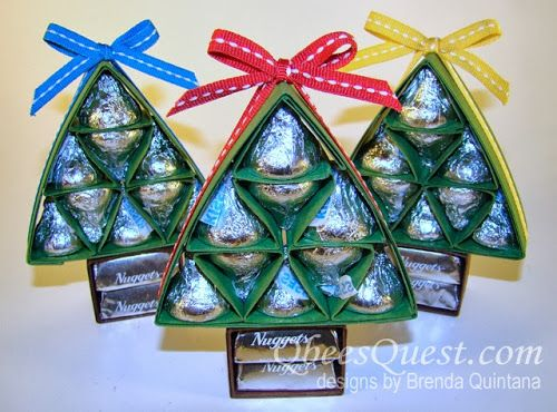 Hershey's Christmas Tree Tutorial UPDATED | Hershey's Kisses, Hershey's Nuggets, Simply Scored, Stampin' Up