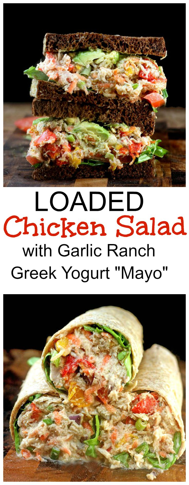 """LOADED Chicken Salad with Creamy Greek Yogurt Garlic Ranch """"Mato"""".  The best chicken salad you might ever have!"""
