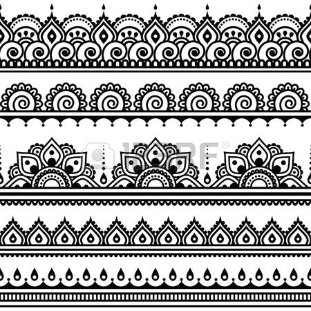 Mehndi, indio de la alheña tatuaje sin patrón, elementos de diseño. Foto de archivo - 40075234