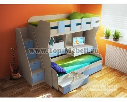 Двухъярусная кровать Фанки Кидз 19 + Лестница-комод 13/8 СВ. Выбираем цвет!