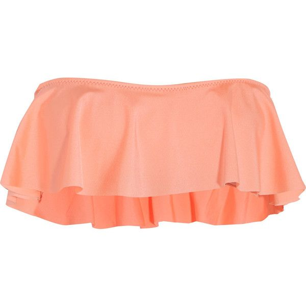 Eberjey Beach Glow ruffled bandeau bikini top ($51) ❤ liked on Polyvore featuring swimwear, bikinis, bikini tops, pastel orange, orange bikini, halter swim top, ruffle bandeau bikini, flounce bikini and bandeau bikini tops