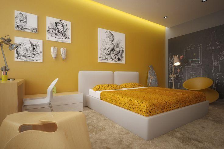 Chambre enfant jaune avec mur tableau