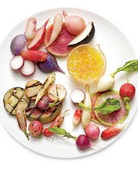 At Forage in Salt Lake City, Viet Pham and Bowman Brown drizzle a bright citrus vinaigrette over fresh, grilled and sweet-firm sous vide radishes.  Thomas Keller on Sous Vide