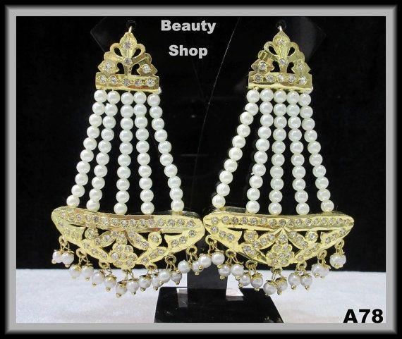 jadau Jhulla Golden Earrings Jhoomer Earrings Gold by BeautyShop21, $33.00