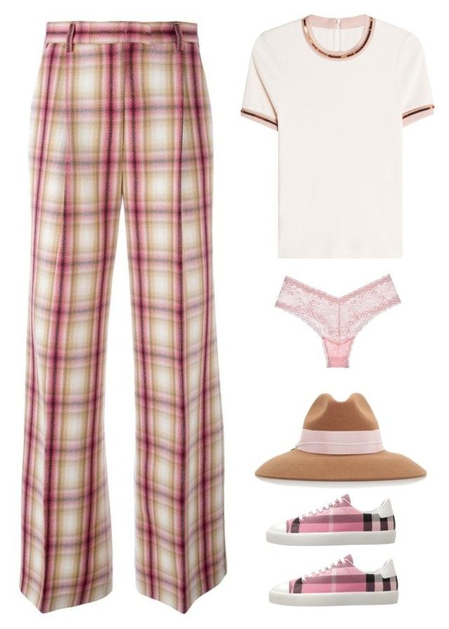"""""""pink plaid"""" by im-karla-with-a-k on Polyvore featuring MSGM, Carven, Federica Moretti, Cosabella and Burberry"""