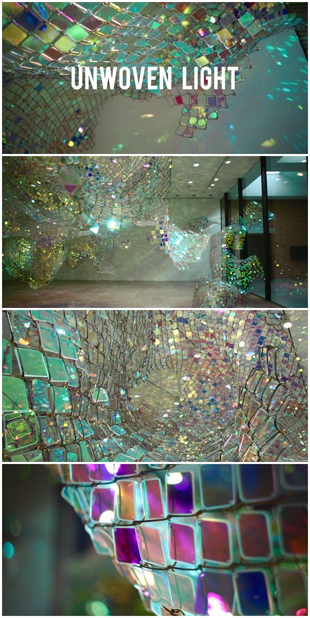 Soo Sunny Park (b. Seoul, Korea) - Unwoven Light at Rice University's Rice Gallery in Houston, Texas. Composed of 37 individual sculptural units, the installation uses iridescent plexi-glass embedded in pieces of a chain link fence to cast shimmering, colorful reflections across the spacious gallery.  Photo's via Walley Films Flickr Photostream.