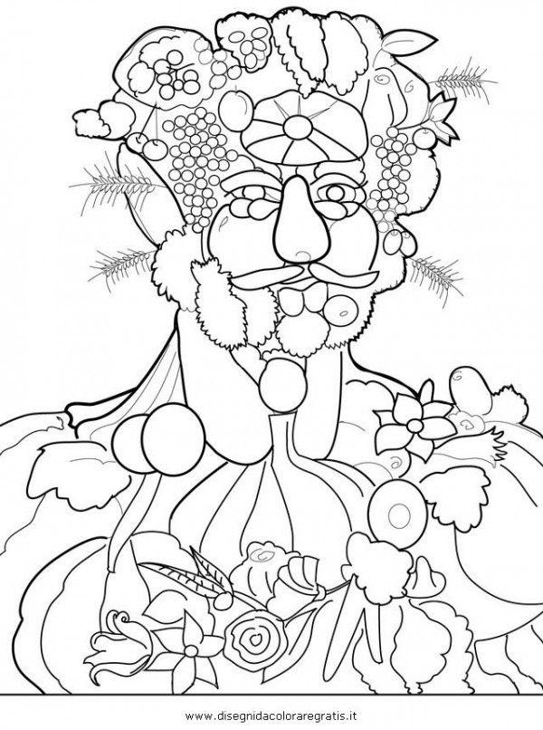 disegni arcimboldo da stampare bambini frutta