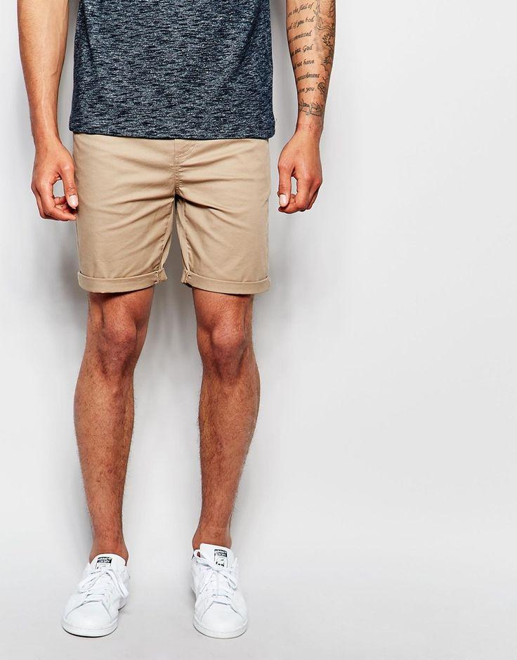 ASOS Skinny Shorts In Stone