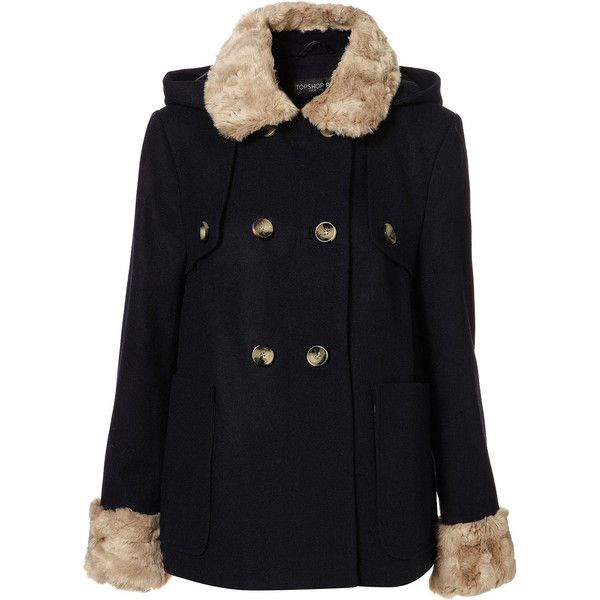 Petite Fur Trim Coat (195 AUD) ❤ liked on Polyvore featuring outerwear, coats, jackets, vest, coats & jackets, women, woolen coat, fur trimmed wool coat, fur trim coats and navy wool coat