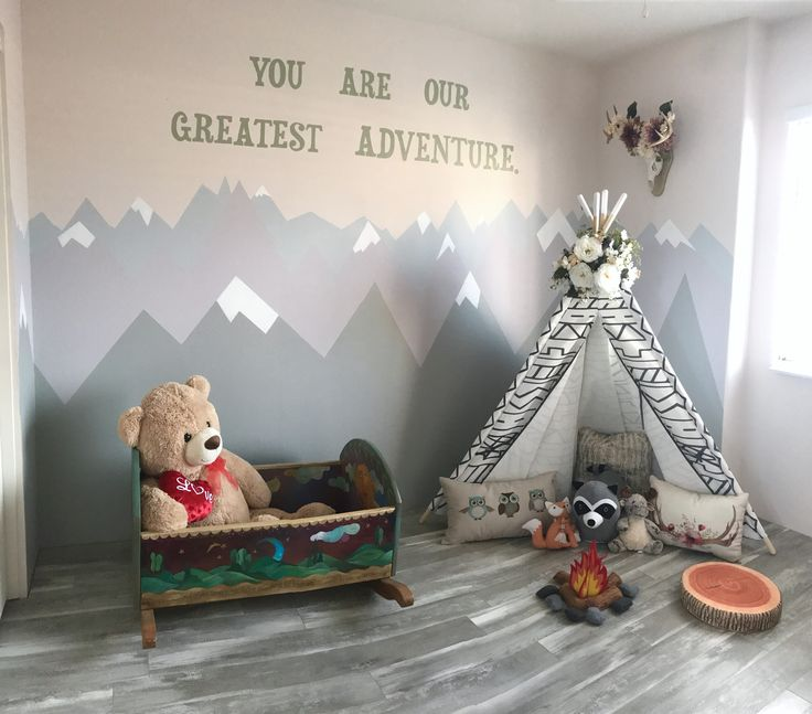 Woodland Tribal Playroom Theme With Teepee And Mountain