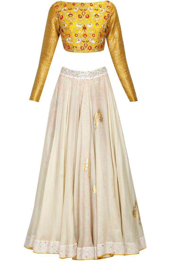 Yellow birds and flowers embroidered blouse and beige overlayered skirt set available only at Pernia's Pop Up Shop.#perniaspopupshop #shopnow #anjumodi#bajiraomastani #bajiraomastanithefilm#partyseason #happyshopping #designer #clothing