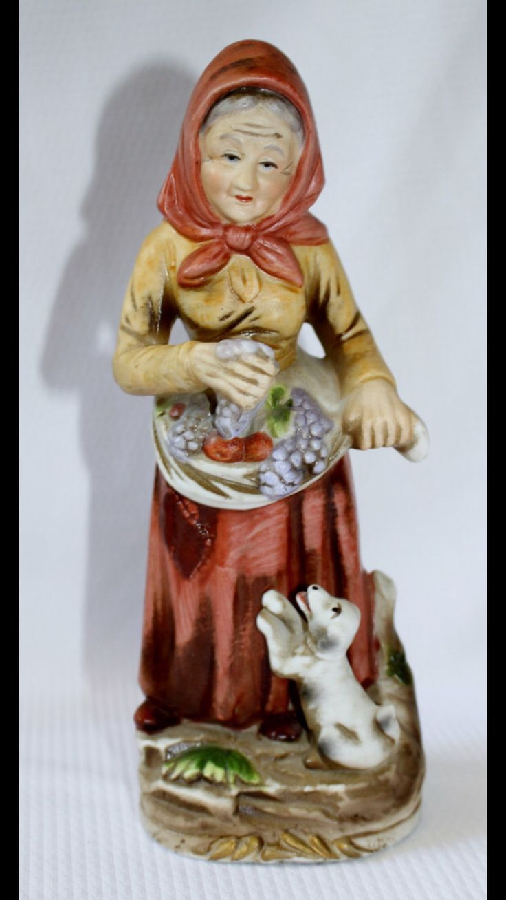 Vintage Collectible HOMCO Home Interiors & Gifts - Old Lady Holding Fruits on Her Mandrill - #1417