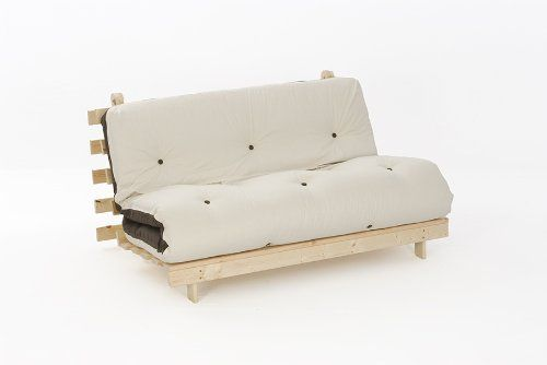 4ft LUXURY Small Double (120cm) Wooden Futon Set with PREMIUM LUXURY Chocolate & Cream Reversible Mattress