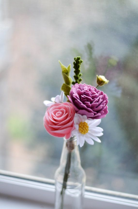 Felt Flower Bouquet / Peony Rose & Wildflower by LeaphBoutique