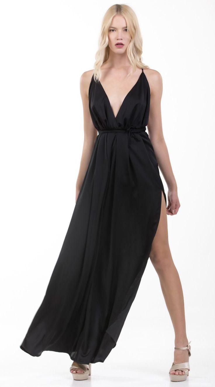 Μάξι Σατινέ Φόρεμα Online
