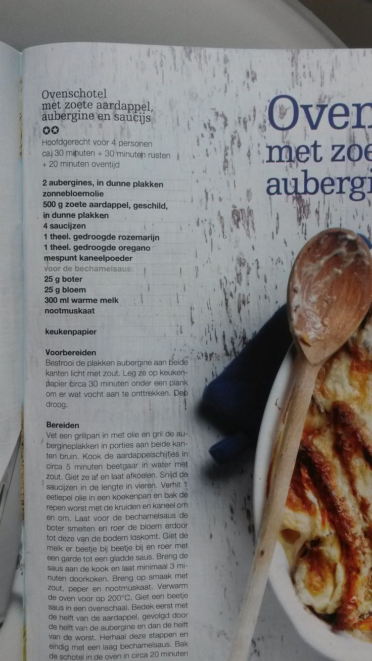 Ovenschotel met zoete aardappel aubergine en saucijs