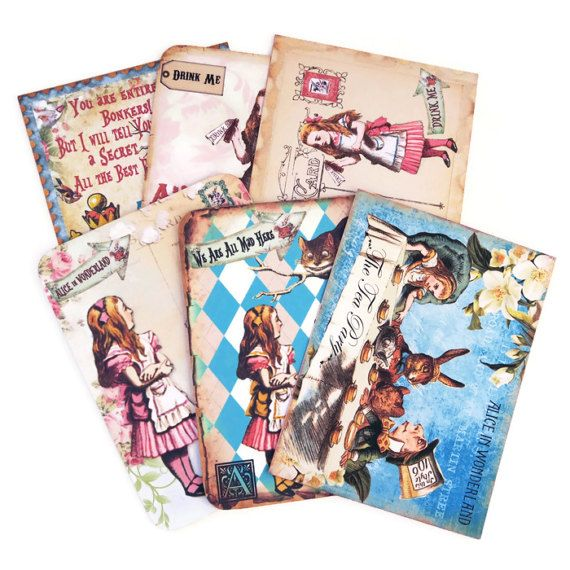 Alice in Wonderland Note Cards Birthday Blank by EnchantedQuilling