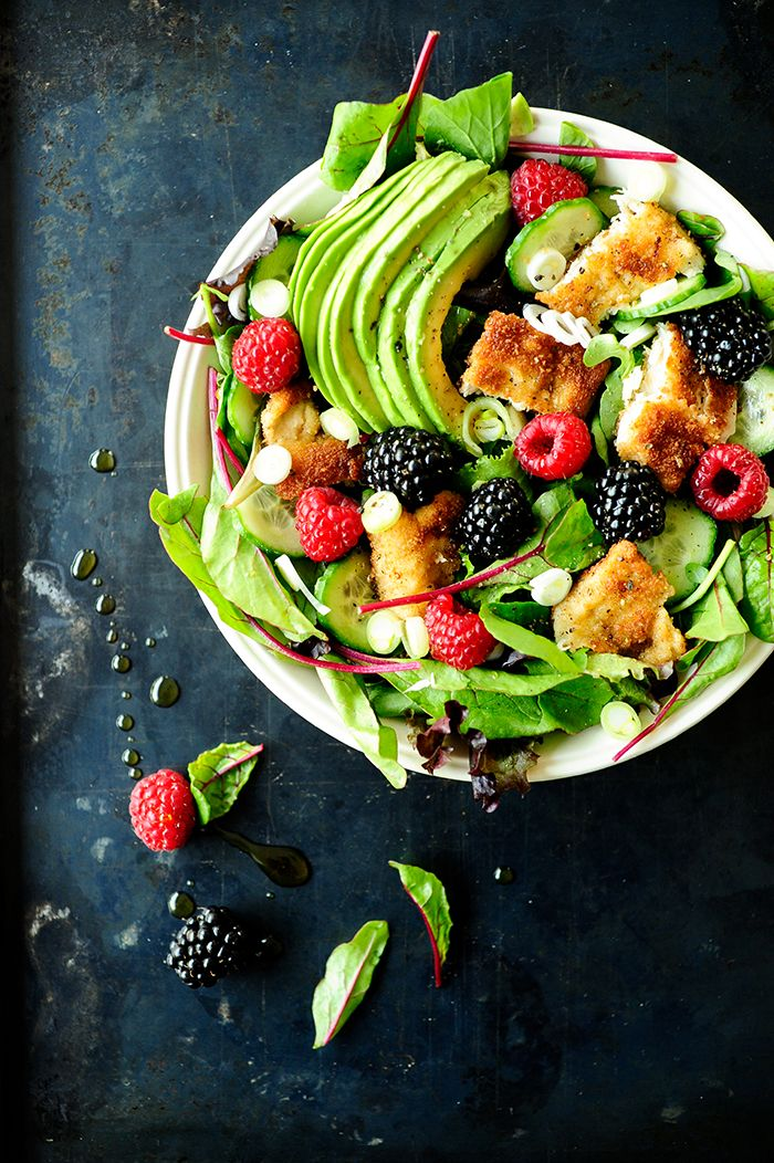 Avocado, chicken and berry salad.
