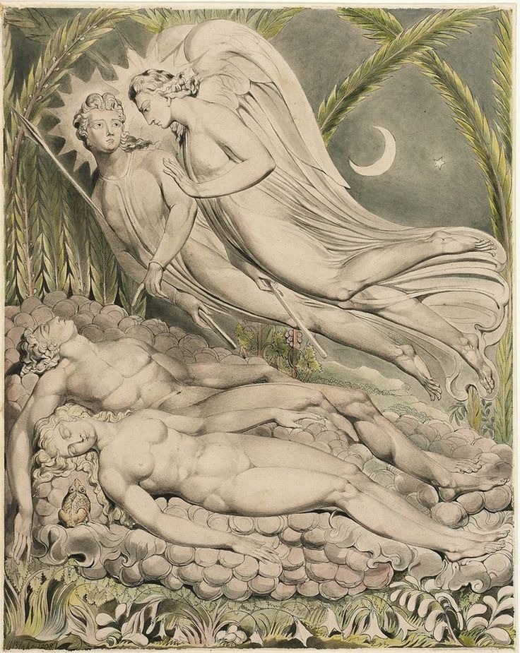 Уильям Блейк Спящие Адам и Ева 1808 Pen and watercolor on paper 492 x 387 mm Museum of Fine Arts, Boston