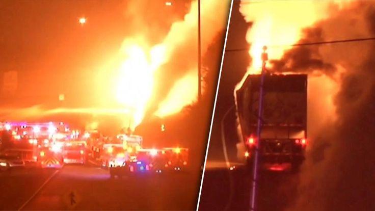 Schwerer Unfall in den USA - Chemie-Laster auf Autobahn explodiert! http://www.bild.de/video/clip/unfaelle/chemie-laster-explodiert-43760782.bild.html