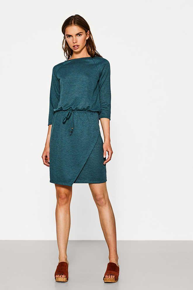 Esprit / Strukturiertes Kleid mit Wickel-Effekt