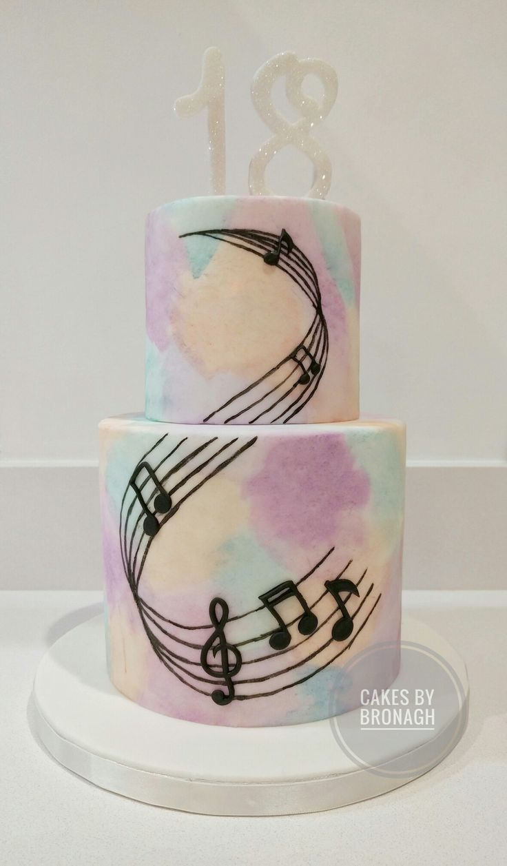 Watercolour fondant birthday cake for music loving 18 year old! Hand painted watercolour fondant with music notes & stave. Sparkle 18 topper