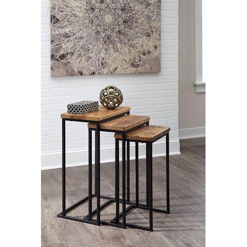 Milan Direct Brown & Black Marxim Nesting Side Table Set