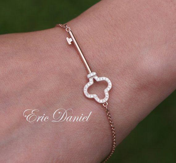 Sideways Key Bracelet Sterling Silver, Rose or Yellow Gold, Key Bracelet, Gold Key, Silver Key, Key Charm Bracelet, CZ Key, Mothers Day