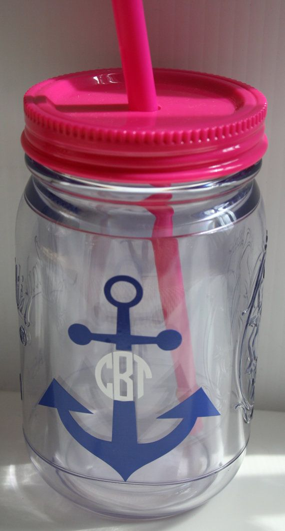 Monogram/Personalized Mason Jar Tumbler-Acrylic.  Pink and Blue are SOLD OUT for now.... via Etsy