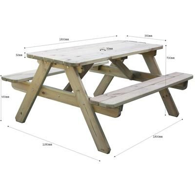 Picnic Table 1800 dimensions available from Rawgarden