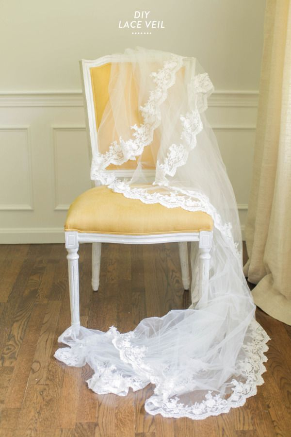 DIY long lace veil