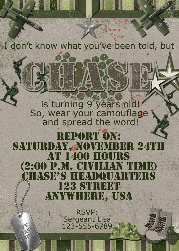 Army Birthday Party Invitation  Military by DecidedlyDigital, $15.00