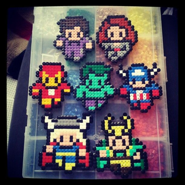 Marvel Comics Avengers characters perler beads by laurasnufkindurber