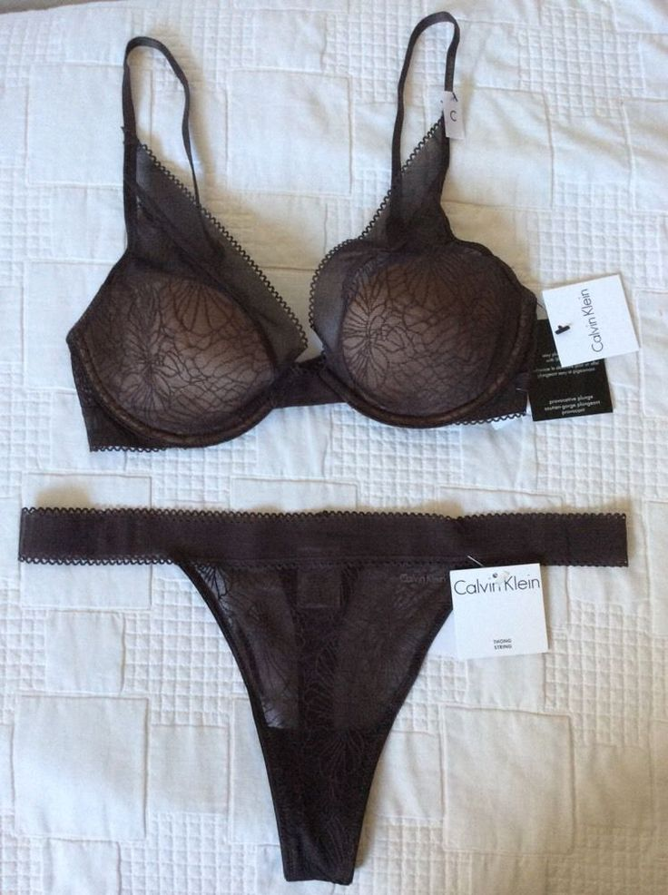 CK CALVIN KLEIN Provocative Plunge Bra set UK32C, EU70C, FR85C + Thong/String M | eBay