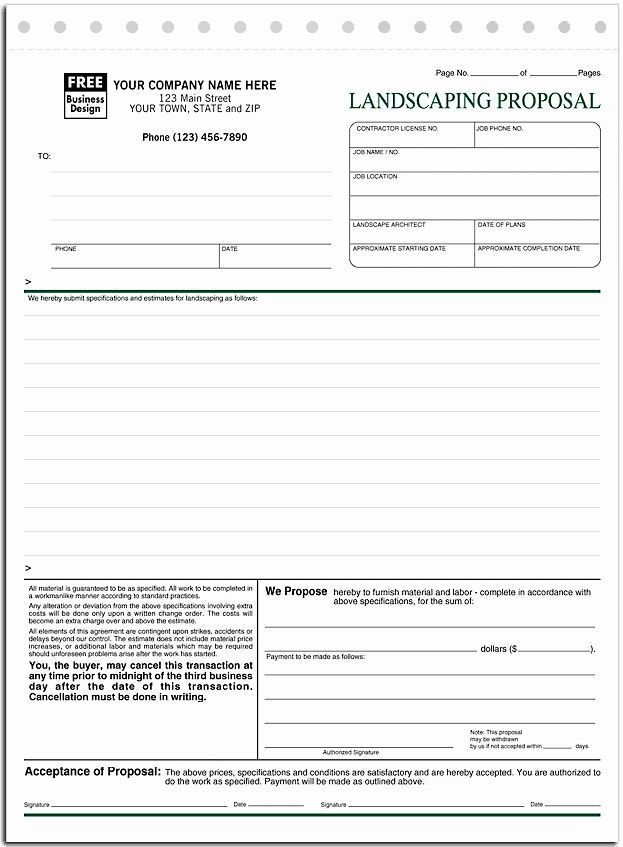 Lawn Care Bid Proposal Template Unique Landscaping Proposal Forms