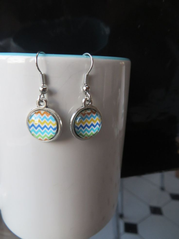 Multi-color Chevron 12mm Earrings, Rainbow, - Stud, Dangle or Lever Back - Silver - Multi Color, Colour, Rainbow - Tightly spaced chevrons - pinned by pin4etsy.com