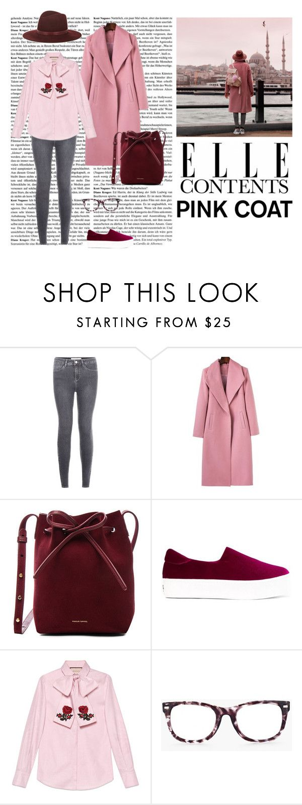 """Pink coat vol.2"" by dorey on Polyvore featuring New Look, Mansur Gavriel, Opening Ceremony, Gucci, Chico's and Janessa Leone"