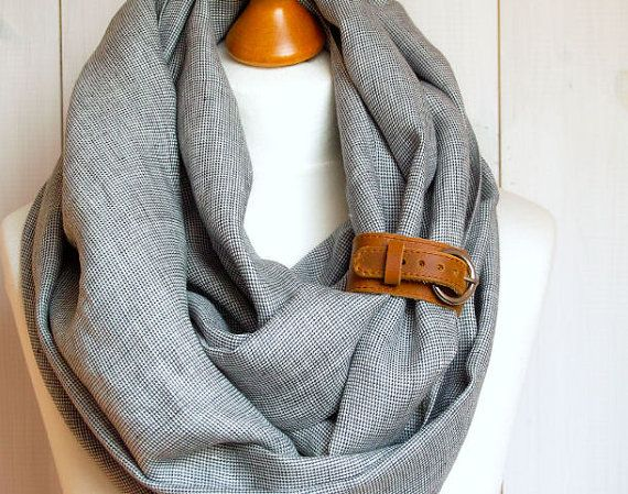 LINEN Infinity Scarf tube scarf with cuff natural linen by Zojanka