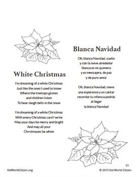Bilingual Christmas Carols Villancicos Navideños Spanish English Songbook Traditional Christmas Carols Song Book Christmas Carol