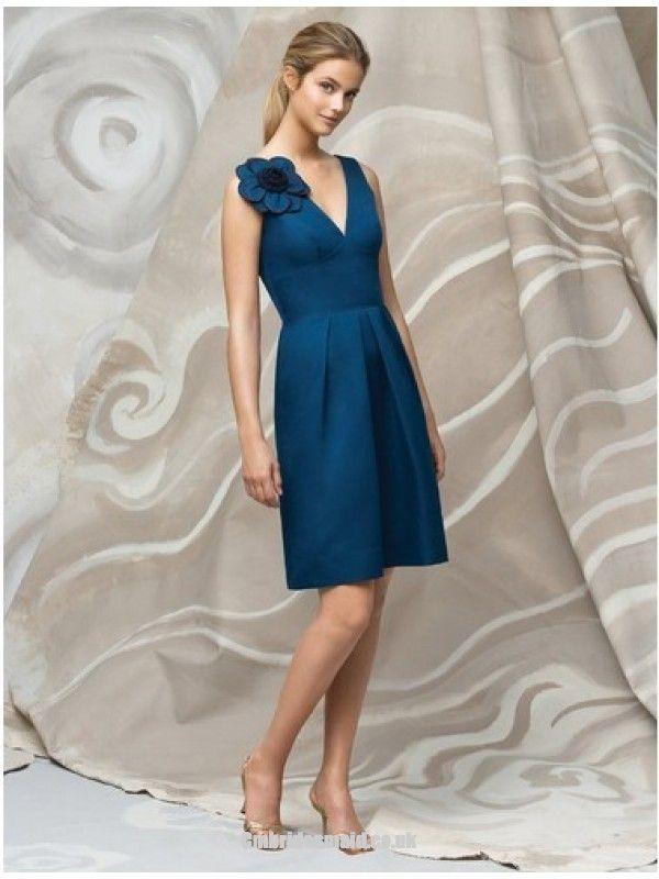 2013 sweetheart #bridesmaid #dress Teal A-Line V-Neck Knee Length #Prom #Dresses London With Draped Skirt and Flowers fashion#weddingdress
