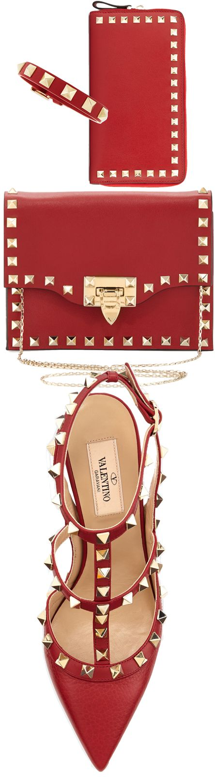 Valentino Rockstud Leather Slingback Sandal, Rockstud Pouch Crossbody Bag, Rockstud Continental Zip Wallet, and Rockstud Leather Buckled Bracelet