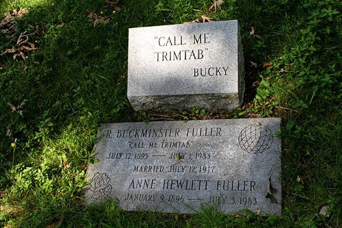 Buckminster Fuller's grave in the Mount Auburn Cemetery in Cambridge, Mass.