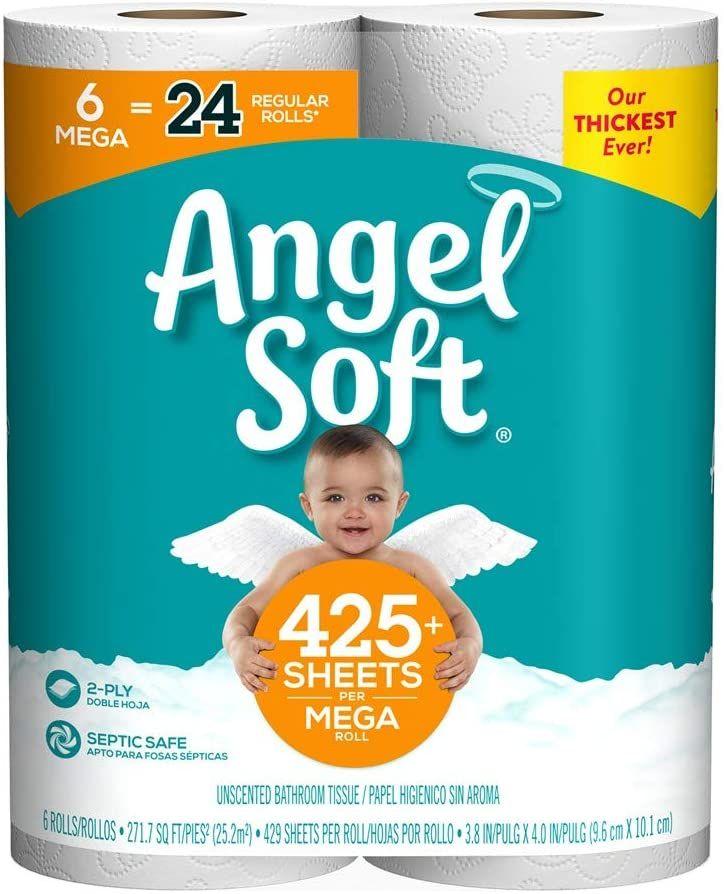 Angel soft toilet paper 6 mega rolls just 528 on prime