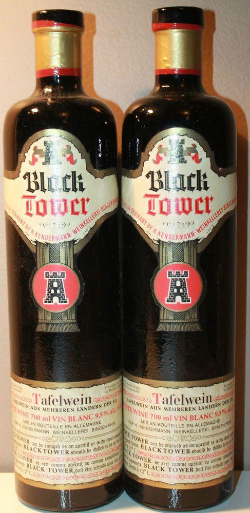 """2 x Black Tower Wine Empty Bottle 700ml Germany Tafelwein 11.75"""" Tall"""