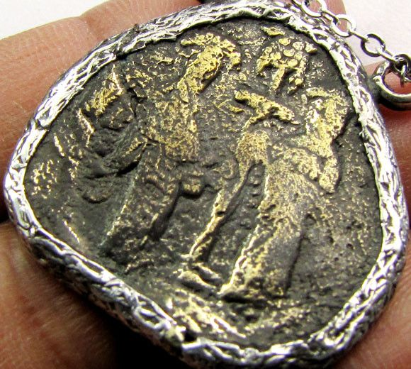 ANCIENT GREEK  BYZANTINE  COIN IN  PENDANT CO 1127 coin jewelry , coin pendant ,ancient coin pendant