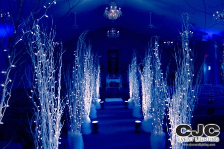 church decorations for winter wedding   Winter Wonderland Wedding « Event Lighting Blog