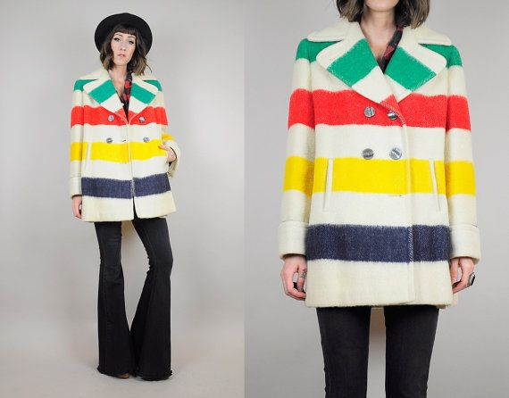 HUDSON BAY vtg 70's Wool rainbow Stripe Four POINT blanket Peacoat